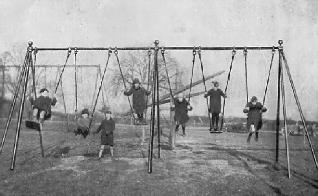 "PIC BY GEOFF ROBINSON PHOTOGRAPHY 07976 880732...PIC SHOWS THE CATALOGUE FROM 1926 SHOWING THE NEW PLAYGROUND SWINGS BUILT BY CHARLES WICKSTEED... Historians have discovered photos of what is believed to be the world's FIRST playground SWING - built 90 YEARS ago with long ropes and NO safety surface..Girls and boys can be seen swinging perilously high on the four-metre tall swings, which are suspended on ropes from metal poles over a hard floor...The play equipment is believed to have been constructed in 1923 in Wicksteed Park in Kettering, Northamptonshire - the first park of its kind in the UK..It was designed by owner Charles Wicksteed, as part of his vision to inspire and encourage play as part of families' health and well-being...He initially made swings and slides for his park, then went on to manufacture and sell them around the world...The photographs have been released as the park, which combines some of the UK's oldest theme park rides with the largest free playground in Europe, launches a worldwide appeal to trace the oldest remaining working models of Wicksteed play equipment...Charles Wicksteed said at the time: ""We had a Sunday School treat in the park and put up primitive swings with large poles, tied together at the top with chains...""Fortunately they were not cleared away with the other things the day after the treat and I ultimately found them so popular that instead of pulling them down I added more.""..SEE COPY CATCHLINE World's first playground SWING"
